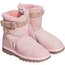 BLUMARINE BABY rosa in pelle scamosciata strass Stivali Scarpe EU 20 UK 4