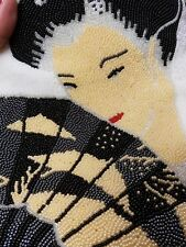 Vintage Hand Beaded Purse / Oriental Lady / Evening Bag / Jeromes /Made in Korea