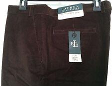 Lauren Ralph Lauren Neville Corduroy Pants Dk Brown Flat Front Size 38 X 30 NWT