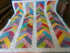 Handmade Pieced Scrappy french Braid Girl  Boy Baby Crib Quilt Throw  Blanket