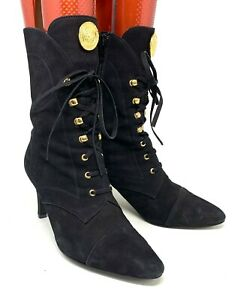 Authentic GIANNI VERSACE Vintage Gold Medusa Short Boots Black Size 35.5 US 6