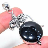 "Snoflake Obsidian Smoky Topaz Gemstone Handmade Jewelry Pendant 2.52"" VS-1506"