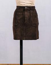 Banana Republic Dark Brown Leather Suede Pocket Short Pencil Mini Skirt Sz 8