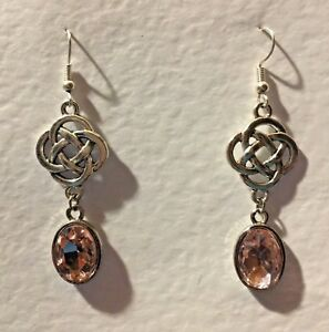 ROUND CELTIC KNOT DARK SILVER PLATED EARRINGS FACETED pink GLASS CRYSTAL OVAL