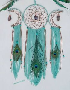 Peacock dream catcher,Peacock Dreamcatcher,Triple Moon with Crystals,Turquoise