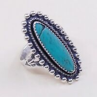 Sz 6.75, Vintage Native American Sterling Silver W/ Turquoise Ring, Navajo, 925