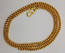 AUTHENTIC VINTAGE SOLID 22K GOLD FLEXIBLE CHAIN NECKLACE FROM INDIA RAJASTHAN