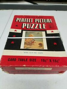 """Vintage 1940's Jigsaw Puzzle Perfect Picture 375 PCS """"Now You're Safe"""" WWII"""