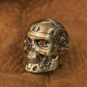 LINSION Handmade Brass Red CZ Eyes Terminator Mens Biker Robot Ring BR80A