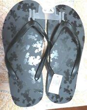 Disney Parks Black Mickey Mouse Flip Flops Men's Size 12 NEW