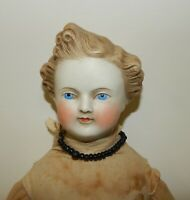 "Antique Parian Head 20"" Dresden Gentleman Doll Molded Blonde Hair Old Body"