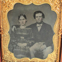 1/6 Plate Crisp Tin type Photo Portrait of Handsome Couple DaguerrotypeTintype