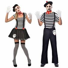 Deluxe French Ladies Mens Mime Artist Fancy Dress Costume Outfit Street Circus