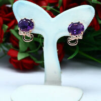 NATURAL 7 X 9 mm. OVAL PURPLE AMETHYST & WHITE CZ EARRINGS 925 STERLING SILVER