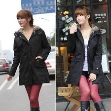 Hot Black L Women's Thicken Fleece Faux Fur Coat Hoodies Parka Overcoat Jacket