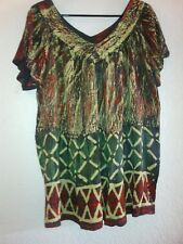 CANARY & MOSS GREEN/RED 100% RAYON CREPE TIE-DYE REVERSIBLE V-NECK BLOUSE