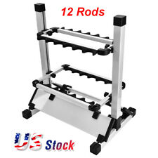12 Rods Portable Fishing Wall Rack Pole Holder Aluminum Alloy Stand Storage Tool