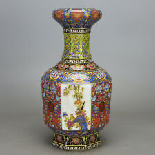 China antique porcelain Qing yongzheng famille rose gild flower bird vase