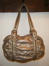 Junior Drake Gold Metallic Leather HandBag Purse ShoulderBag Bronze Hardware EUC