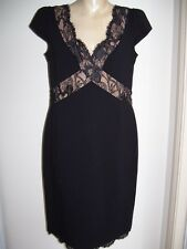 EMILIO PUCCI NWT $2499 Authentic little black lace trim dress size 16 AUS 14 USA