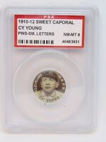 Cy Young 1910-12 Sweet Caporal Pins Cleveland Naps  PSA 8 Rare SM letters HOF