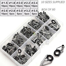 US 80Pcs 10 Size Kits Ceramic Repair Tip Tops Line Fishing Rod Guides Stainless