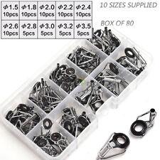 US 80Pcs 10 Size Kits Ceramic ring Repair Tip Tops Line Fishing Rod Guides Alloy