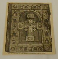 1887 magazine engraving ~ BOOK-COVER IN MEDIAEVAL STYLE, crucifix