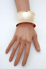 Women Gold Cuff Bracelet Wide Metal Fashion Jewelry Trendy Stripes Shiny Color