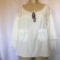 TSUMORI CHISATO Top Blouse Off White Loose Fit Embroidery Pocket 2 Oversized