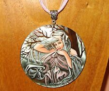 Russian hand made SHELL pendant MUCHA MARCH SPRING MONTHS BIRTHDAY Pisces GIFT