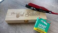 Hand Made Stainless Steel Straight Razor with Derby Half Blades - The Old School