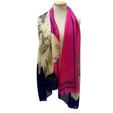 VALENTINO FLORAL PINK BLUE SHAWL Silk Scarf 68/25 Inches
