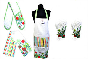 100% Cotton Apron Oven Mitt Gloves Tea Towels Cooking BBQ Blobs XMAS Gift Sets