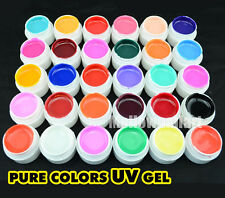 20 Pure Cover Colors Shiny Extension Nail Art UV Gel Builder Tips Glue Manicure