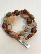 CHICO'S Earth Tone Beaded Stretch Bracelet Brown Orange Wood Glass Stone Plastic