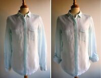 M&S Green White Pure Linen Shirt Blouse Top Relaxed Fit Size 8 or 10 12