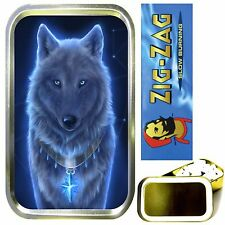 WOLF GHOST SMOKING SET, GOLD 1oz TOBACCO TIN, ROLLING PAPERS & FILTER TIPS