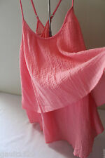 NWT C & C California Salmon Rose Cotton Sexy Tiered Summer Relaxed Top M $68