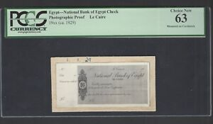 Egypt - National Bank of Egypt Check 1929 Photographic Proof Unciruclated