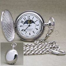 SILVER Pocket Watch Large 47 MM Polished Brass Case Sun & Moon + Fob Chain P50PA