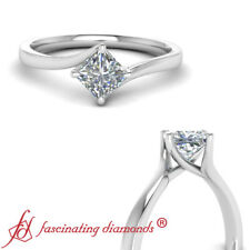 .50 Carat Princess Cut Diamond Solitaire Kite Set Engagement Ring In Platinum