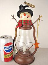 "Cute 11"" Snowman Lamp Railroad Lantern Christmas decoration Metal/glass Solar"