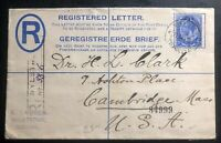 1919 Nystroom Transvaal South Africa Registered Cover to Cambridge MA Usa