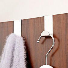4X Stainless Steel Metal Over Door Hooks for Clothes Coat Robe Hanger Hanging FO
