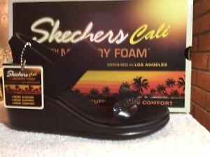 Skechers Cali Rumblers City Dash Wedge Sandals Black Slingback Sandals Size 8M