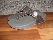 NEW!  FitFlop Fit Flop Electra Classic Pewter Sequin Flip-Flop Sandal 8 M
