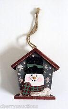 "WOOD SNOWMAN BIRDHOUSE Christmas Tree Ornament 3"" country  box A"