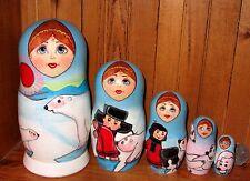 Russian Nesting Dolls OOAK Matryoshka POLAR Bear UMKA Fairy tale SIDOROVA 5 GIFT