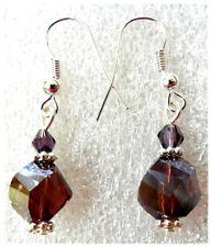 Dangle earrings - 10mm purple glass twist + crystal